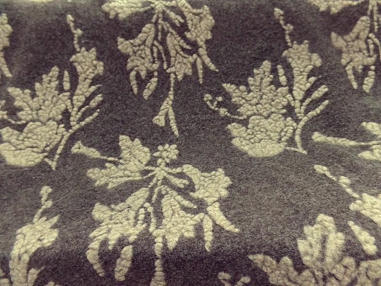 Jersey de laine aspect laine cardee brun chine fleuri sable 6 1