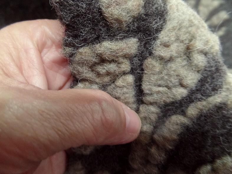 Jersey de laine aspect laine cardee brun chine fleuri sable 7