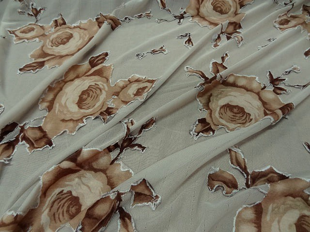 Jersey lycra sable roses decoupees sepia 2