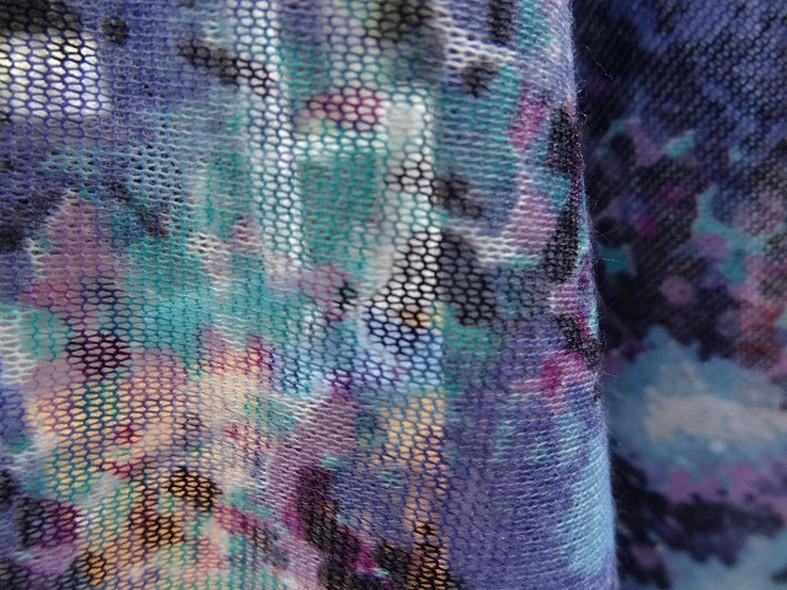 Jersey maille coton melange effet granite bleu givre mauve rose noir 4