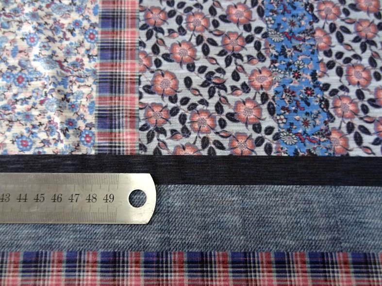 Jersey polyester carreaux et fleurs 8