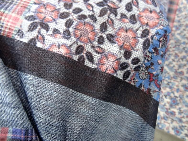 Jersey polyester carreaux et fleurs 9