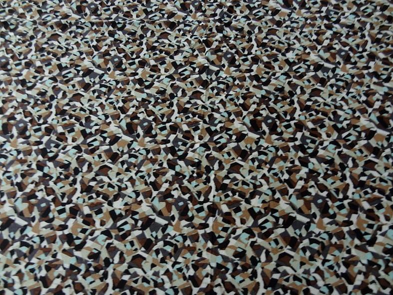 Jersey polyester motif abstrait vintage noisette et bleu givre 2