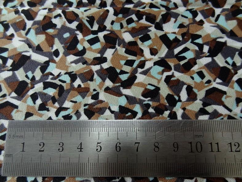 Jersey polyester motif abstrait vintage noisette et bleu givre 3