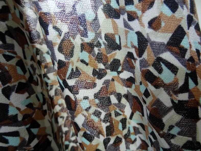 Jersey polyester motif abstrait vintage noisette et bleu givre 5