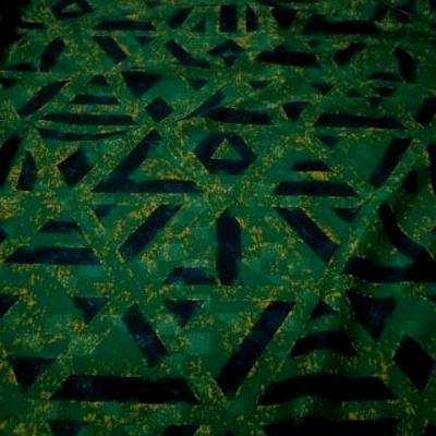 Jersey polyester vert gazon marbre motif geometrique marine 2
