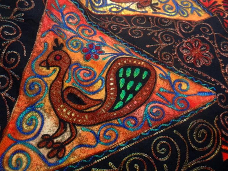 Jersey pur coton noir motifs naifs africains colores 2