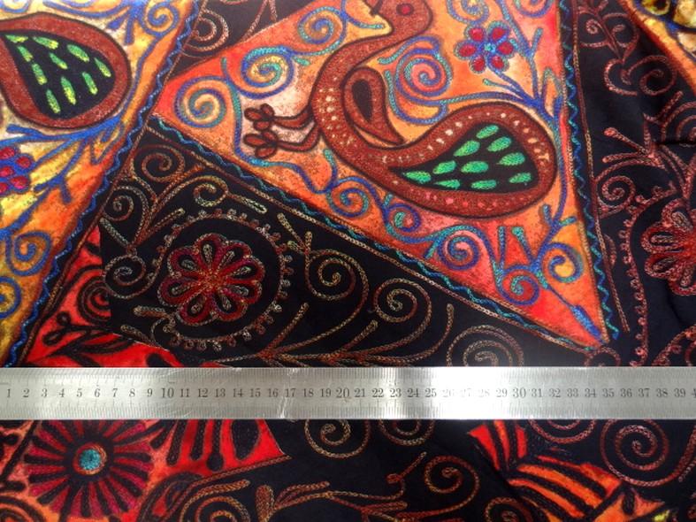 Jersey pur coton noir motifs naifs africains colores 4