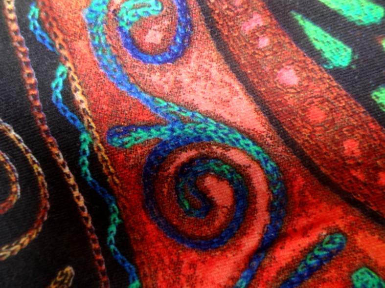 Jersey pur coton noir motifs naifs africains colores 6