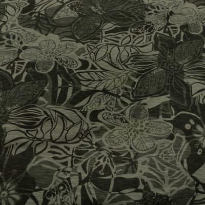 Jersey tons kaki feuillage et fleurs 1