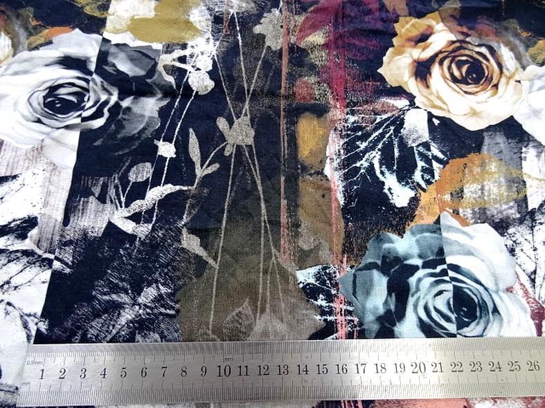 Jersey viscose lycra bandes motifs fleuris 2