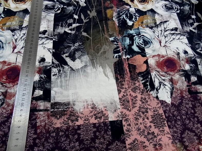 Jersey viscose lycra bandes motifs fleuris 3