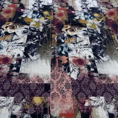 Jersey viscose lycra bandes motifs fleuris 5