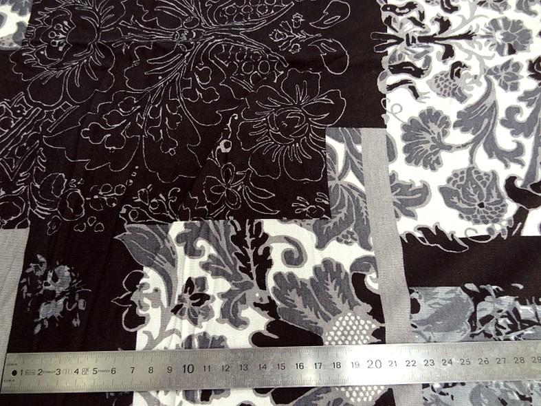 Jersey viscose lycra patchwork noir blanc et gris 1