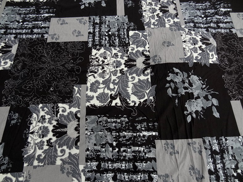 Jersey viscose lycra patchwork noir blanc et gris 2