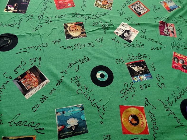 Jersey viscose motif pochettes vinyle annees 50 1
