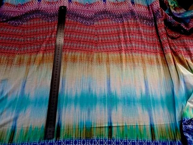 Jersey viscose motifs abstraits turquoise 1