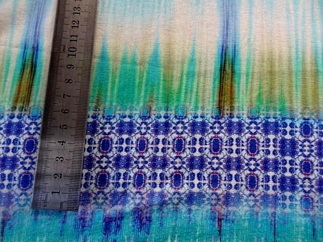 Jersey viscose motifs abstraits turquoise 2