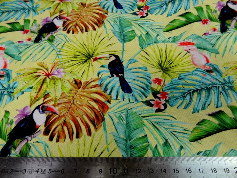 Jersey viscose toucan et cacatoes 3