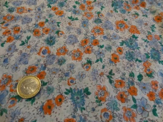 Jersey polyester blanc fleuris 02