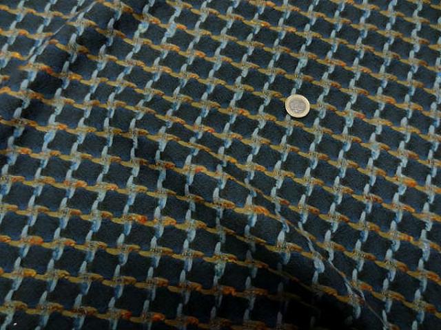 Lainage bleu petrole pied de coq inverse bleu canard et ocre 1