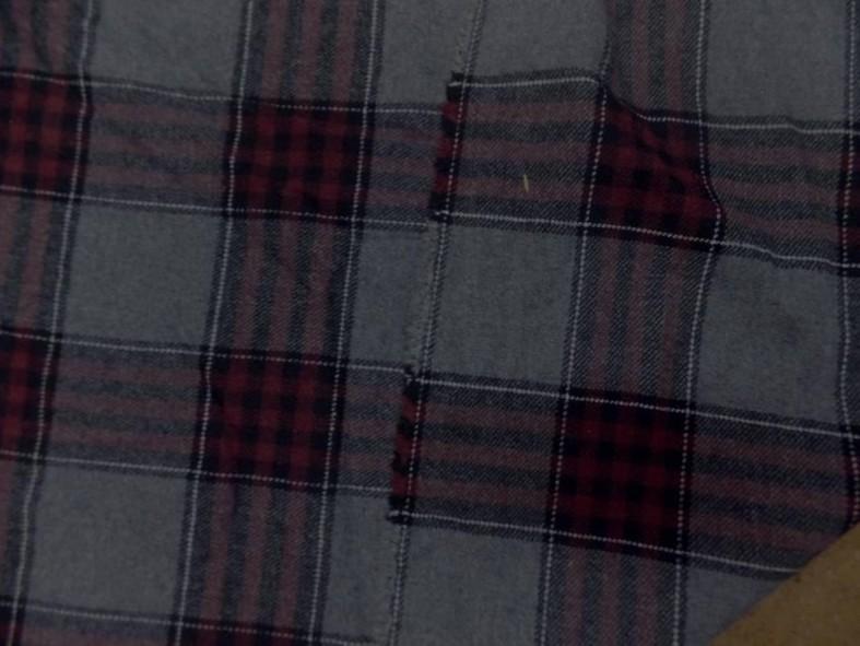 Lainage gris tartan carreaux rouge bordeaux 1