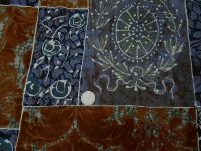 Lainage leger motif patchwork caramel bleu denim 1