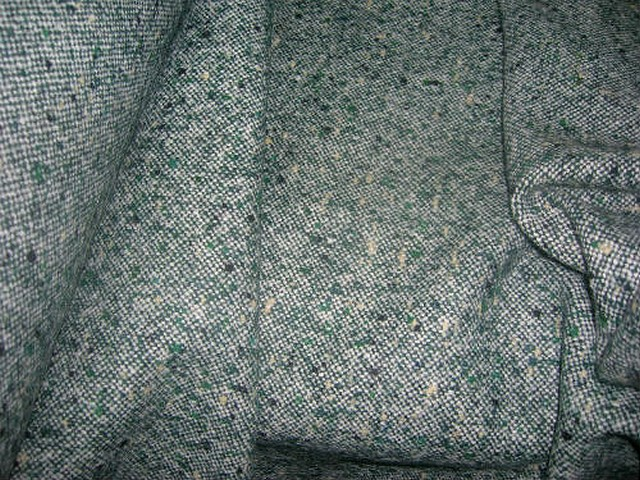 Lainage tweed gris vert chine 1