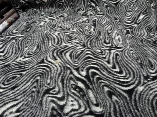 Laine bouillie imprimée zèbre noir blanc