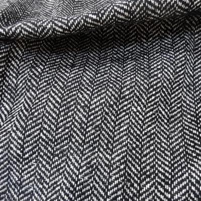 Laine tweed a chevrons noir et blanc 1