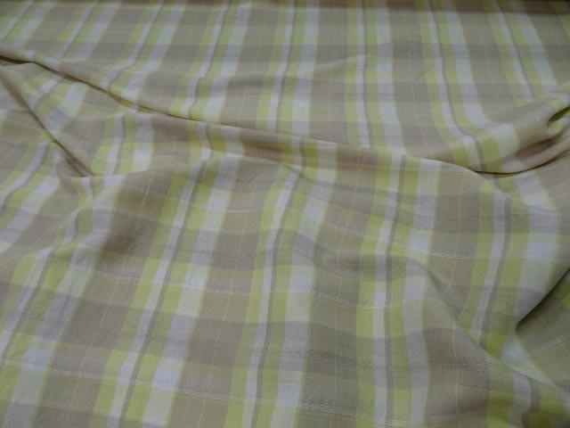 Lin blanc casse taupe jaune carreaux 1 2