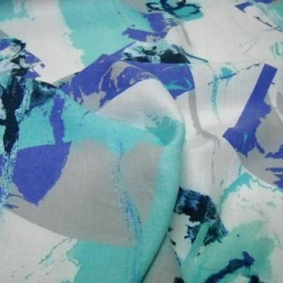 Lin blanc motif fleurs modernes indigo cyan 1