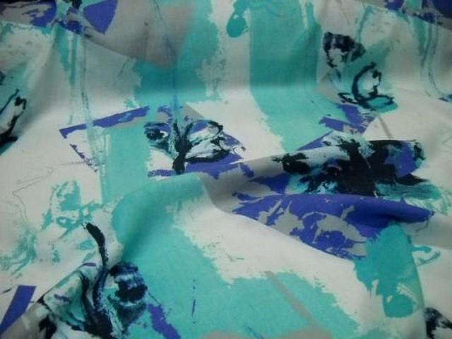 Lin blanc motif fleurs modernes indigo cyan 3