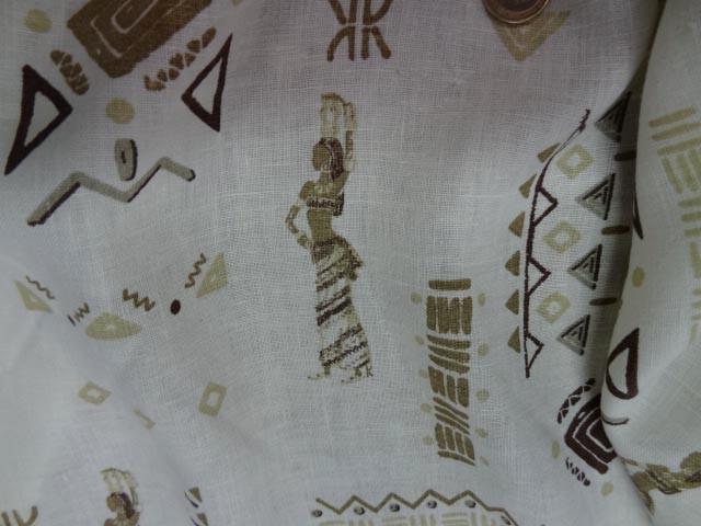 Lin blanc motifs symboles africains 2