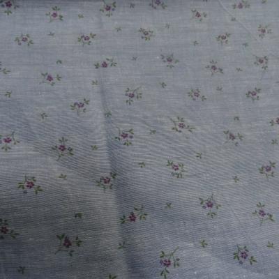 Lin bleu chambray petites fleurs 1