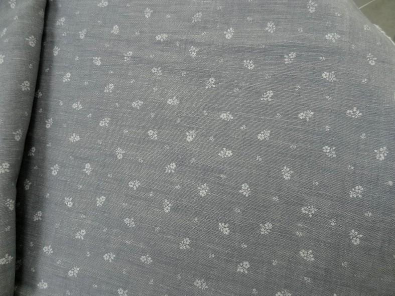 Lin gris clair fleurs blanches