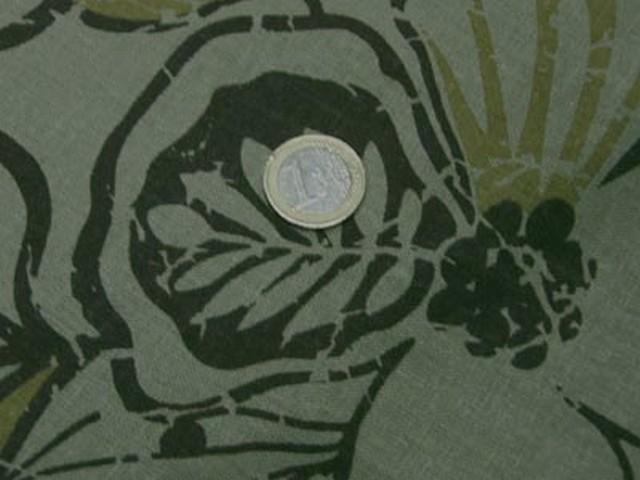 Lin kaki clair fleurs cachou et ocre 3