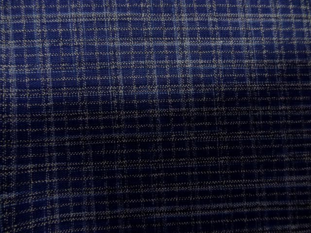 Lin polyester bleu carreaux 2