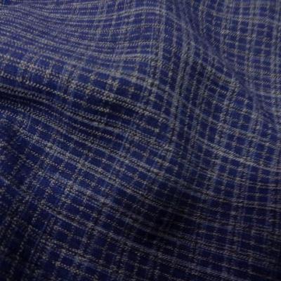 Lin polyester bleu carreaux 3