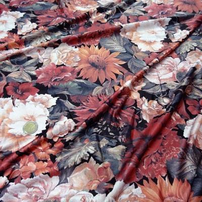 Lycra dahlias tournesol satin teintes d automne 1