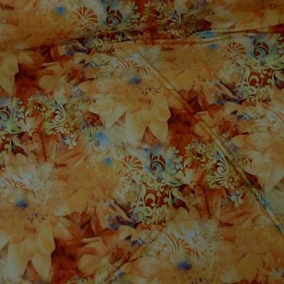 Lycra fleur de nenuphar teintes aurore et corail 1