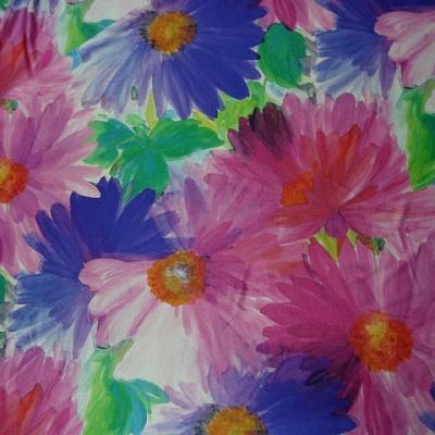 Lycra fleurs de gerbera rose et indigo 2