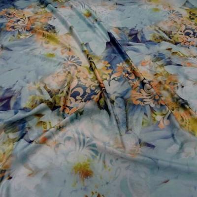 Lycra fleurs de nenuphar teinte bleu 1