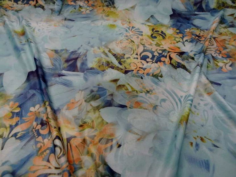 Lycra fleurs de nenuphar teinte bleu 2