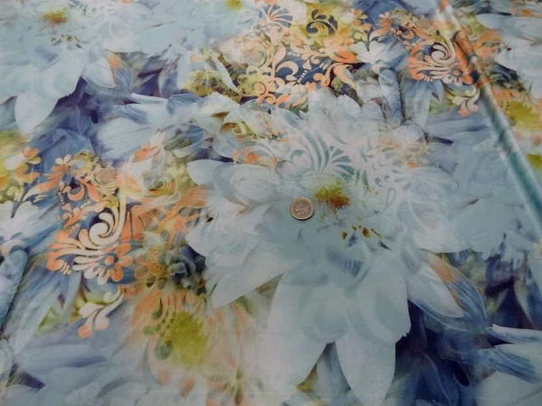 Lycra fleurs de nenuphar teinte bleu 3