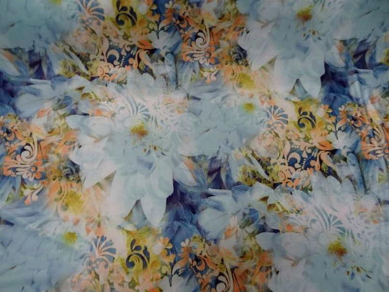 Lycra fleurs de nenuphar teinte bleu 4