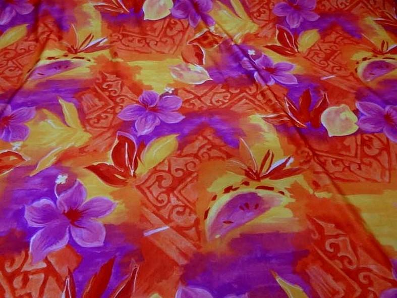 Lycra fleurs exotiques rose magenta jp
