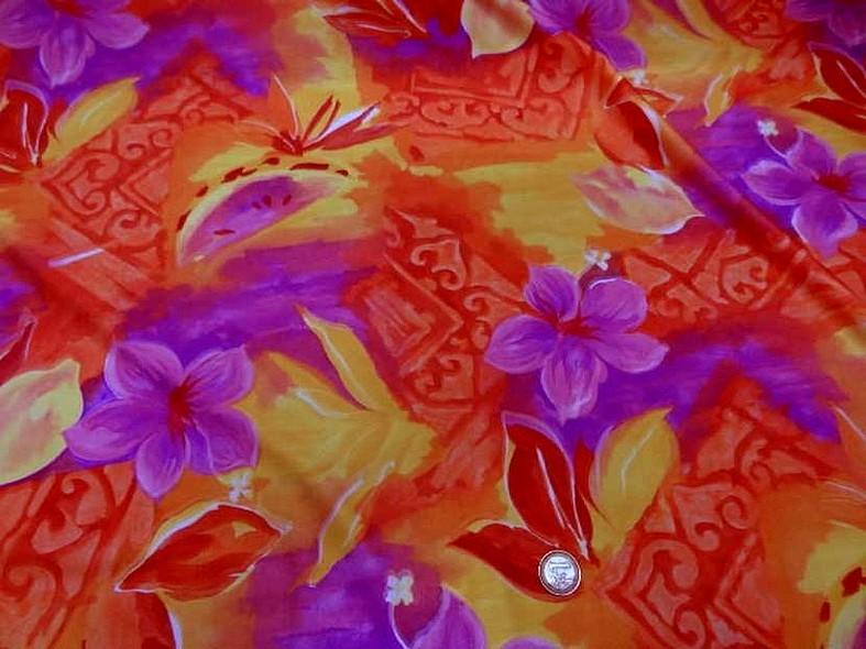 Lycra fleurs exotiques rose magenta 1
