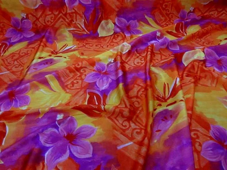 Lycra fleurs exotiques rose magenta 2