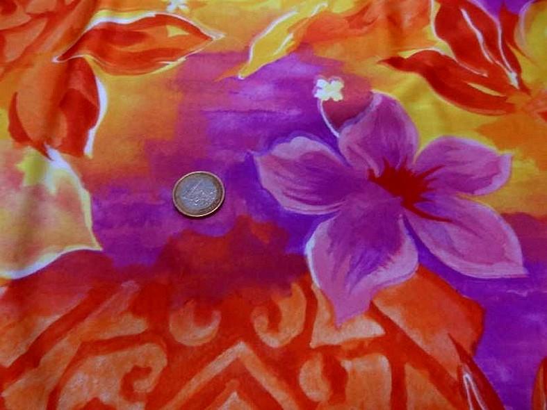 Lycra fleurs exotiques rose magenta 3